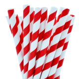 Compostable Paper Straight Jumbo Straw 200mm Red Stripe
