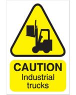 Caution Industrial Trucks Sign For Outdoor Use 300x200mm